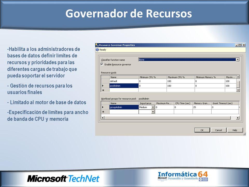 - Habilita a los administradores de bases de datos definir límites de recursos y prioridades para las diferentes cargas de trabajo que pueda soportar