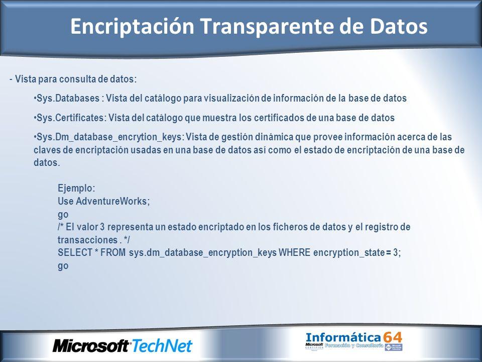 - Vista para consulta de datos: Sys.Databases : Vista del catálogo para visualización de información de la base de datos Sys.Certificates: Vista del c
