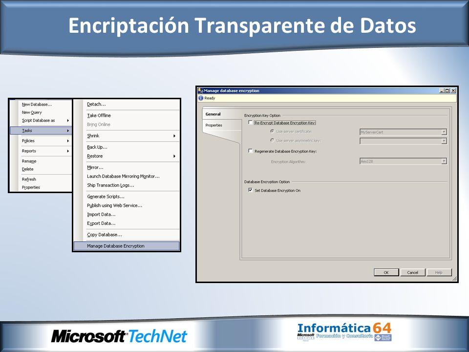 - Gestión de claves extensibles (Extensible Management Key) provee la capacidad de almacenamiento de claves de encriptación en módulos de seguridad de hardware (Hardware Security Module) de terceros a través de Microsoft Criptographic API (MSCAPI).
