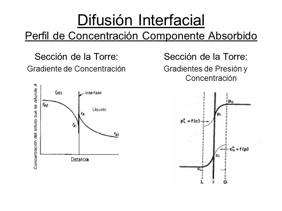 Difusión Interfacial Perfil de Concentración Componente Absorbido Sección de la Torre: Gradiente de Concentración Sección de la Torre: Gradientes de P