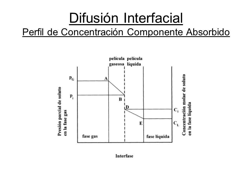 Difusión Interfacial Perfil de Concentración Componente Absorbido