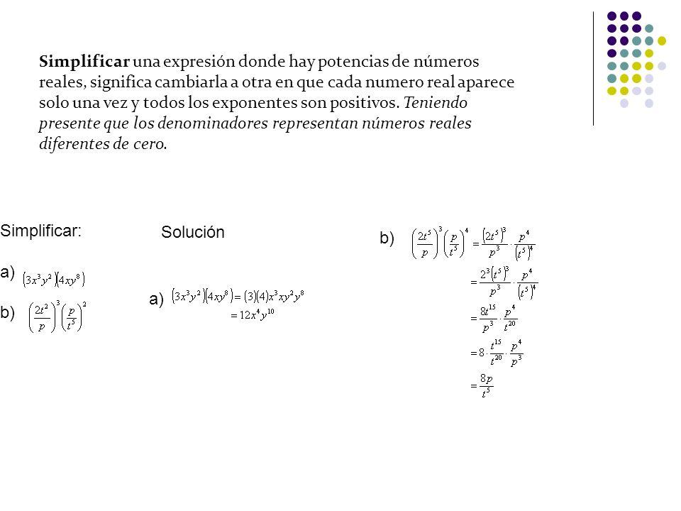 El logaritmo de una potencia es igual al exponente por el logaritmo de la base de la potencia.