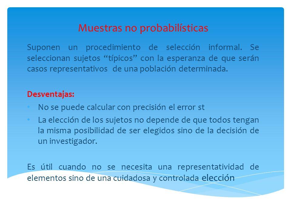 Muestras no probabilísticas Suponen un procedimiento de selección informal. Se seleccionan sujetos típicos con la esperanza de que serán casos represe