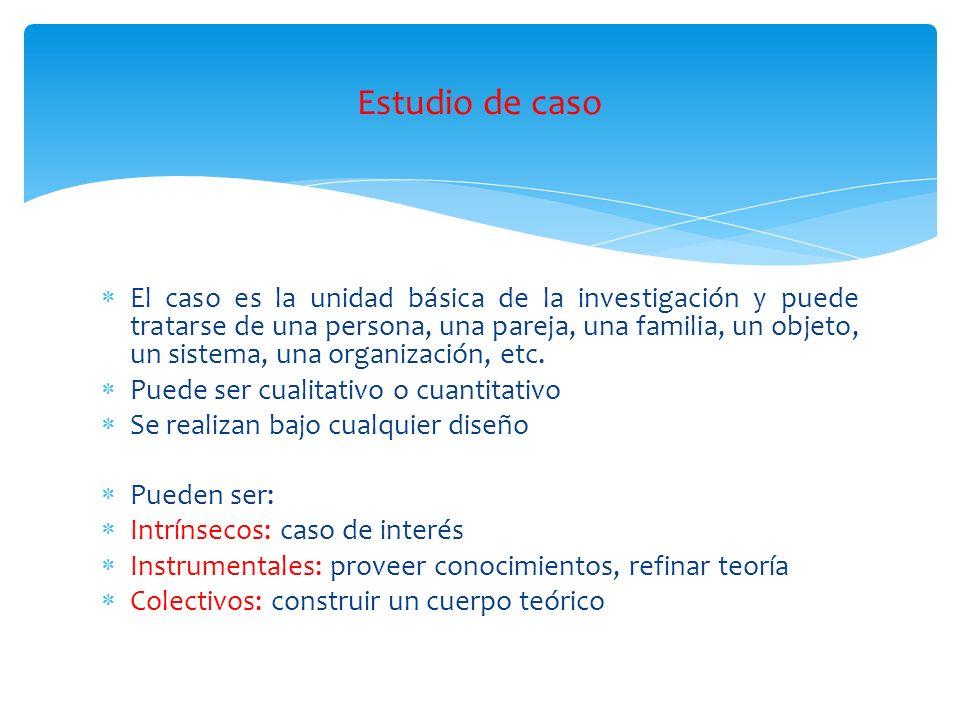 El caso es la unidad básica de la investigación y puede tratarse de una persona, una pareja, una familia, un objeto, un sistema, una organización, etc