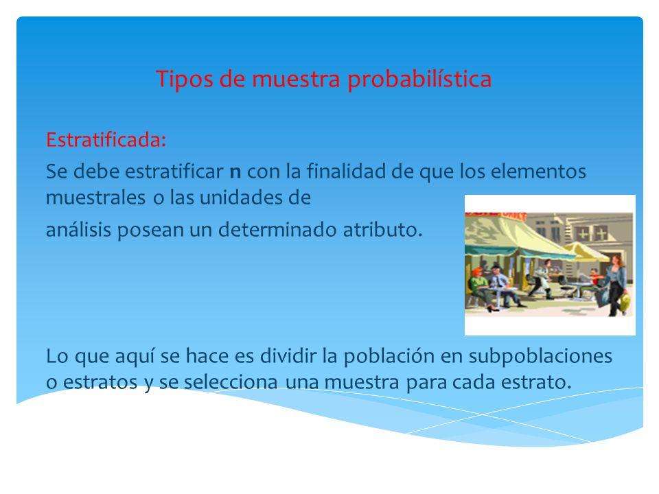 Tipos de muestra probabilística Estratificada: Se debe estratificar n con la finalidad de que los elementos muestrales o las unidades de análisis pose