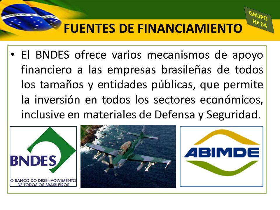 FUENTES DE FINANCIAMIENTO El BNDES ofrece varios mecanismos de apoyo financiero a las empresas brasileñas de todos los tamaños y entidades públicas, q