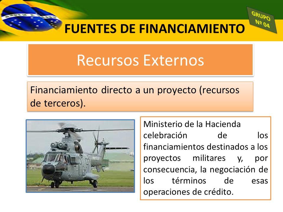 FUENTES DE FINANCIAMIENTO Recursos Externos Financiamiento directo a un proyecto (recursos de terceros). Ministerio de la Hacienda celebración de los