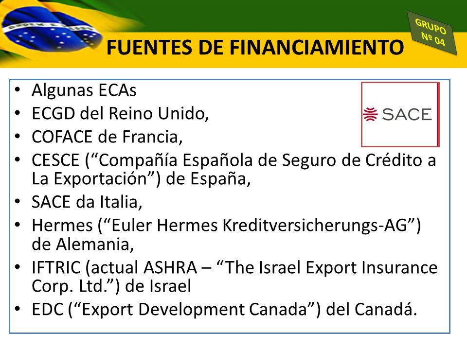 Algunas ECAs ECGD del Reino Unido, COFACE de Francia, CESCE (Compañía Española de Seguro de Crédito a La Exportación) de España, SACE da Italia, Herme