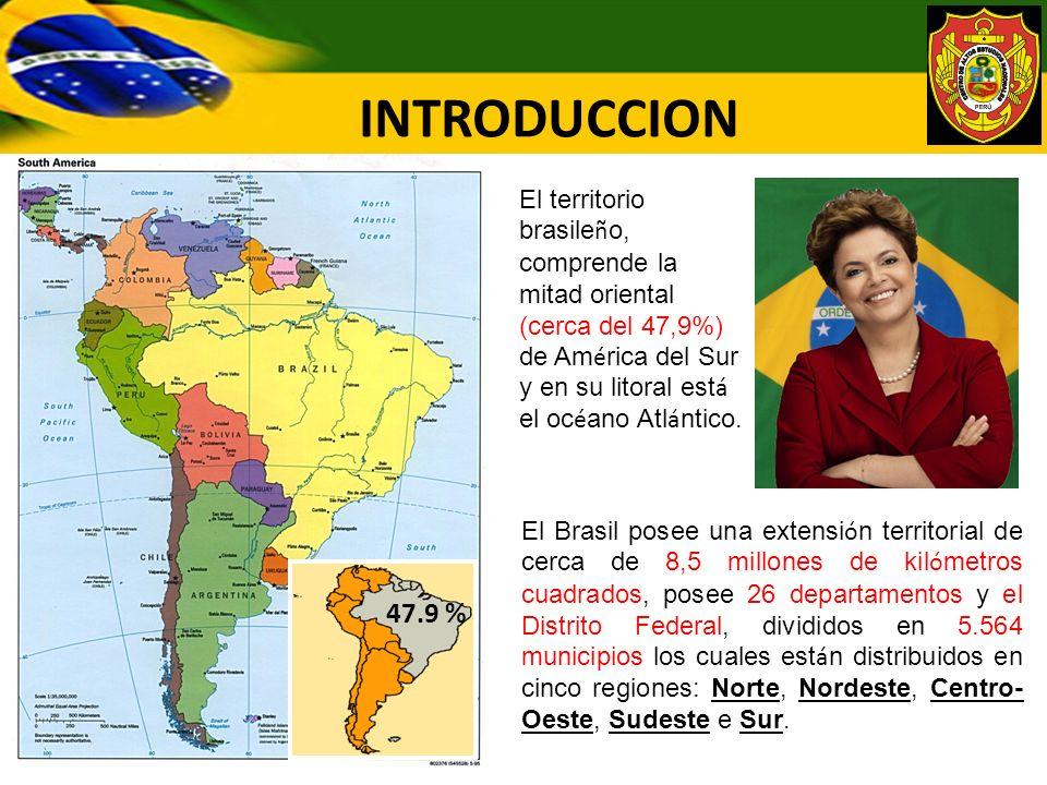 INTRODUCCION El Brasil posee una extensi ó n territorial de cerca de 8,5 millones de kil ó metros cuadrados, posee 26 departamentos y el Distrito Fede