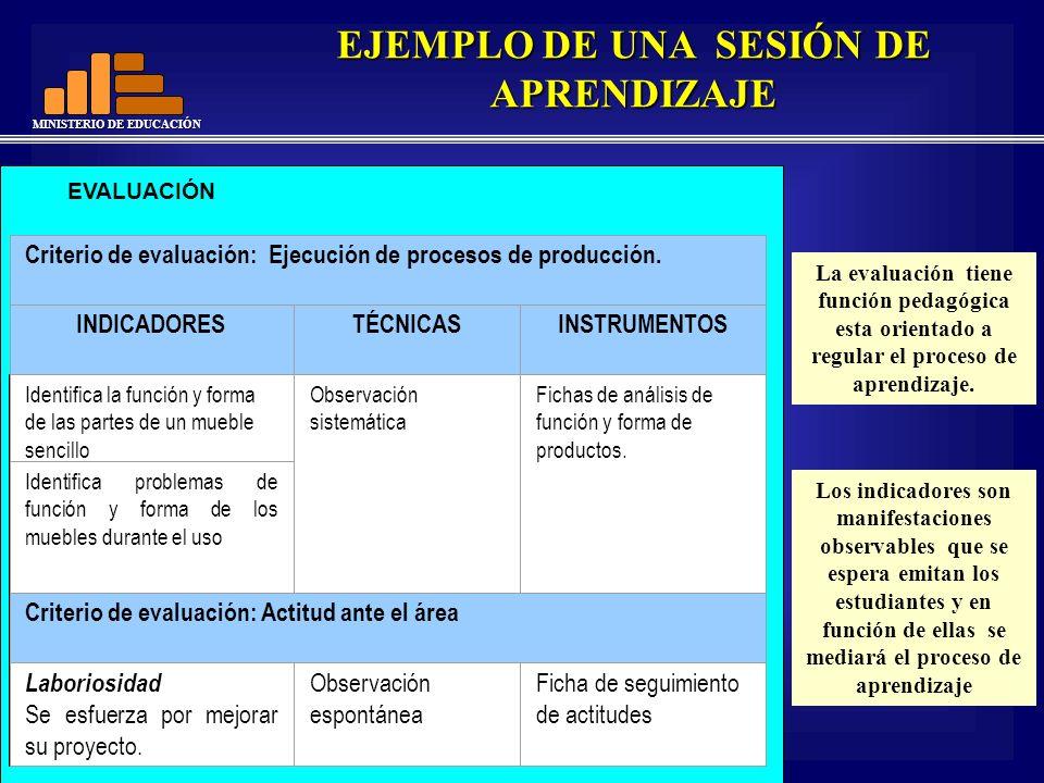 MINISTERIO DE EDUCACIÓN EVALUACIÓN Criterio de evaluación: Ejecución de procesos de producción. INDICADORESTÉCNICASINSTRUMENTOS Identifica la función