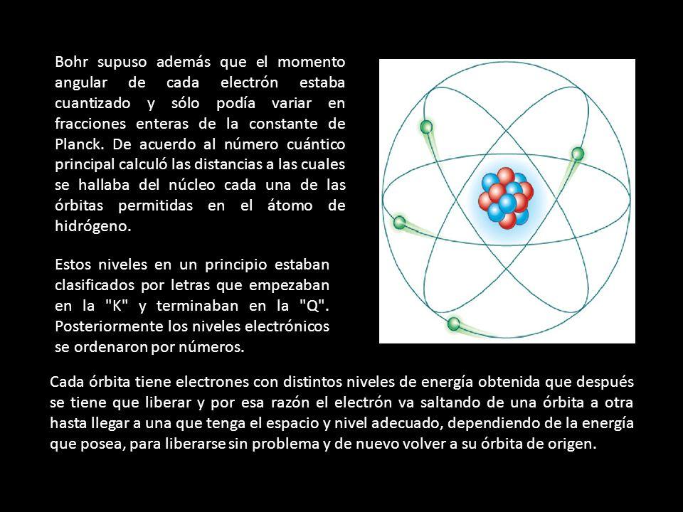 1.Los electrones orbitan el átomo en niveles discretos y cuantizados de energía, es decir, no todas las órbitas están permitidas, tan sólo un número finito de éstas.