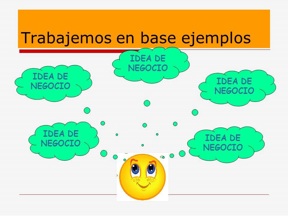 Trabajemos en base ejemplos IDEA DE NEGOCIO IDEA DE NEGOCIO IDEA DE NEGOCIO IDEA DE NEGOCIO IDEA DE NEGOCIO