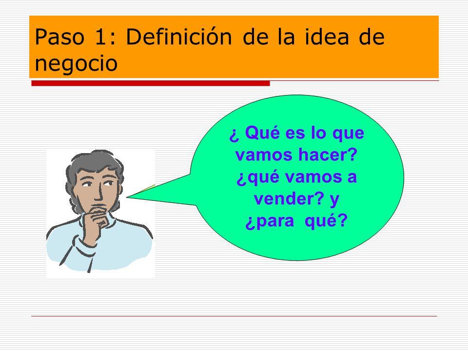 Paso 1: Definición de la idea de negocio ¿ Qué es lo que vamos hacer? ¿qué vamos a vender? y ¿para qué?