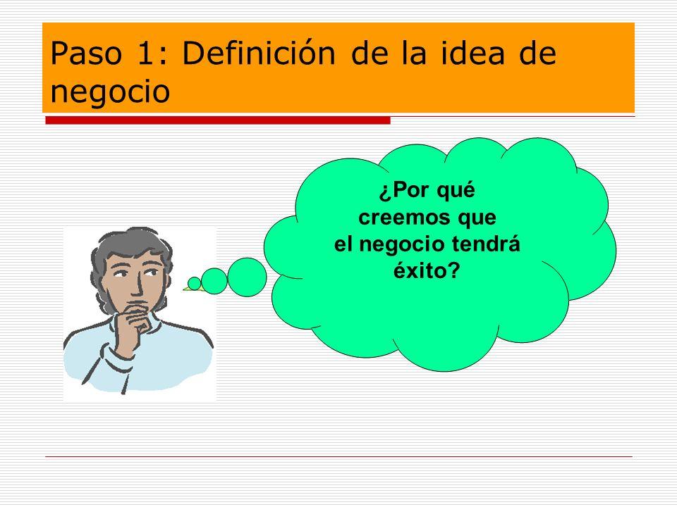 Paso 1: Definición de la idea de negocio ¿Por qué creemos que el negocio tendrá éxito?