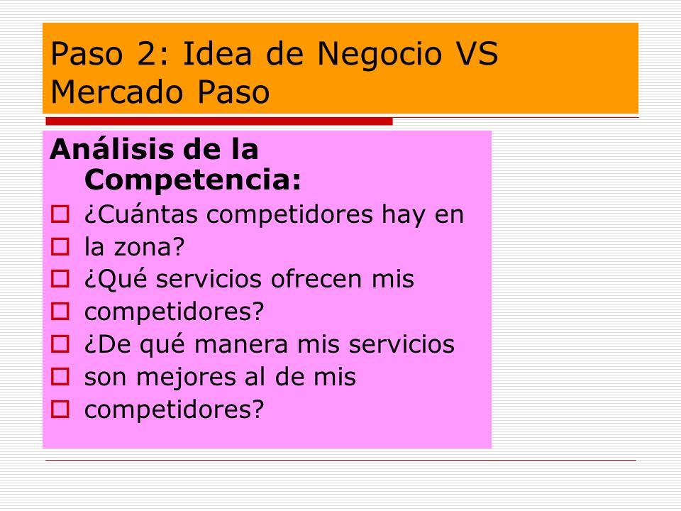 Paso 2: Idea de Negocio VS Mercado Paso Análisis de la Competencia: ¿Cuántas competidores hay en la zona? ¿Qué servicios ofrecen mis competidores? ¿De