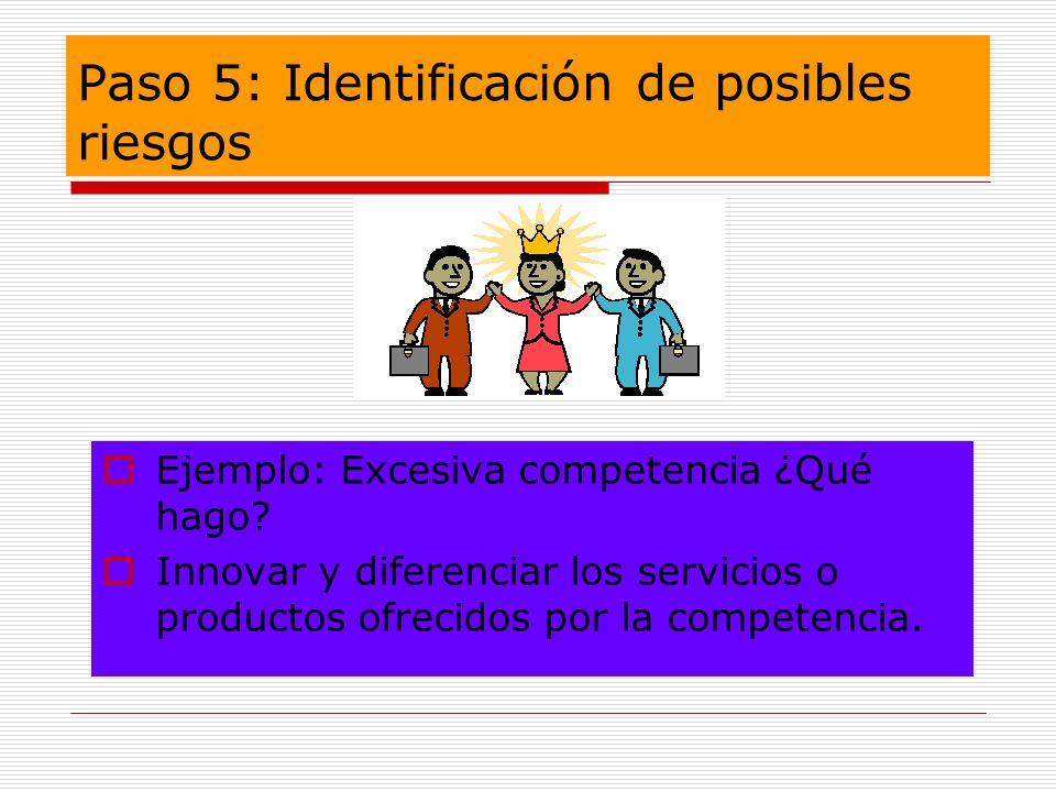 Paso 5: Identificación de posibles riesgos Ejemplo: Excesiva competencia ¿Qué hago? Innovar y diferenciar los servicios o productos ofrecidos por la c