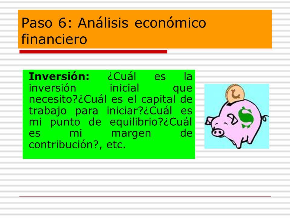 Paso 6: Análisis económico financiero Inversión: ¿Cuál es la inversión inicial que necesito?¿Cuál es el capital de trabajo para iniciar?¿Cuál es mi pu