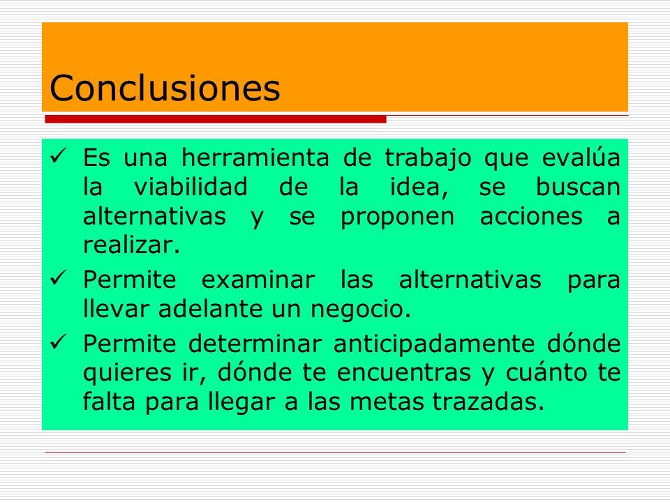 Conclusiones Es una herramienta de trabajo que evalúa la viabilidad de la idea, se buscan alternativas y se proponen acciones a realizar. Permite exam