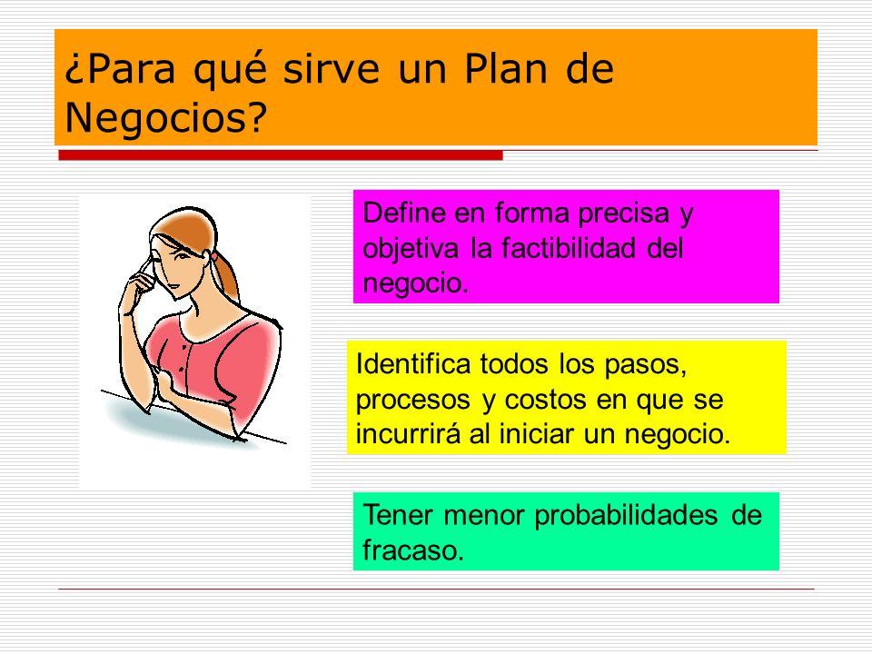 ¿Para qué sirve un Plan de Negocios? Define en forma precisa y objetiva la factibilidad del negocio. Identifica todos los pasos, procesos y costos en