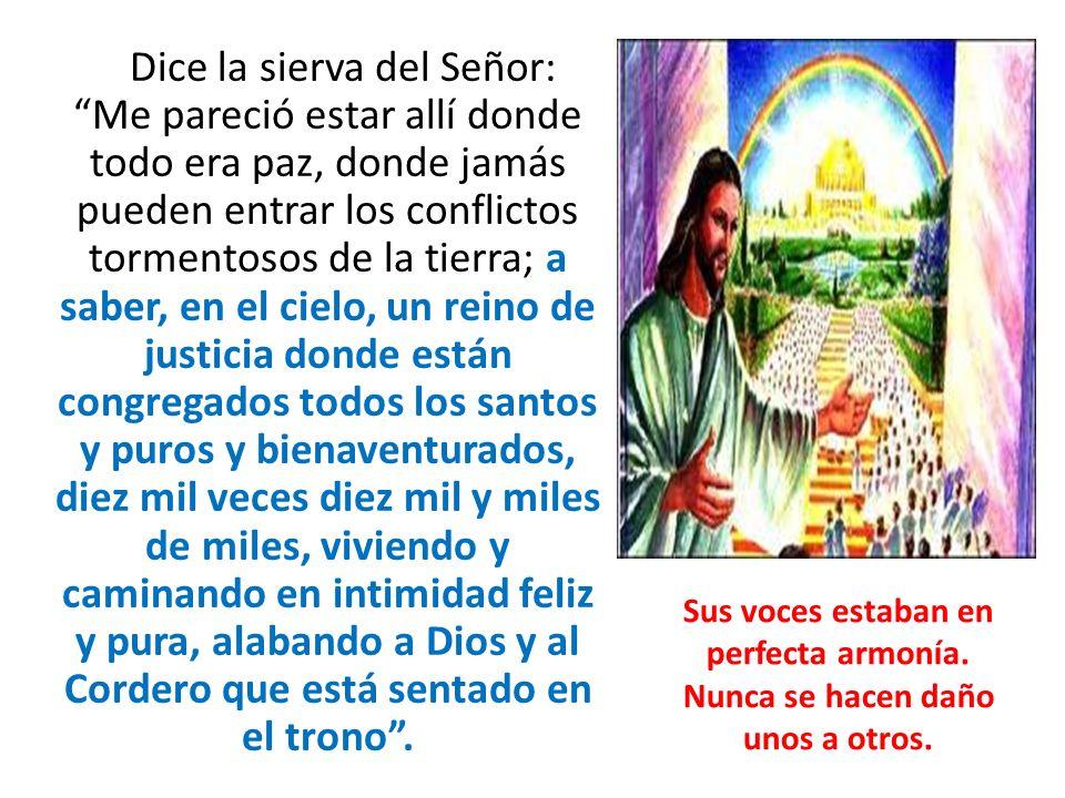 Dice la sierva del Señor: Me pareció estar allí donde todo era paz, donde jamás pueden entrar los conflictos tormentosos de la tierra; a saber, en el