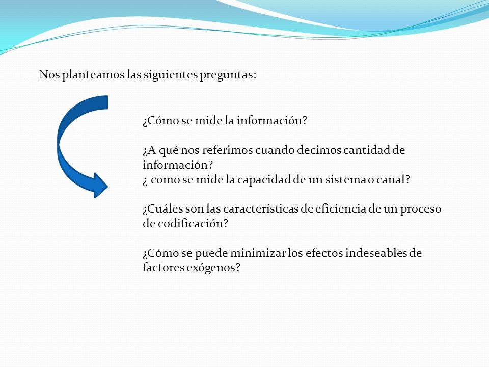 ¿Cómo se mide la información? ¿A qué nos referimos cuando decimos cantidad de información? ¿ como se mide la capacidad de un sistema o canal? ¿Cuáles