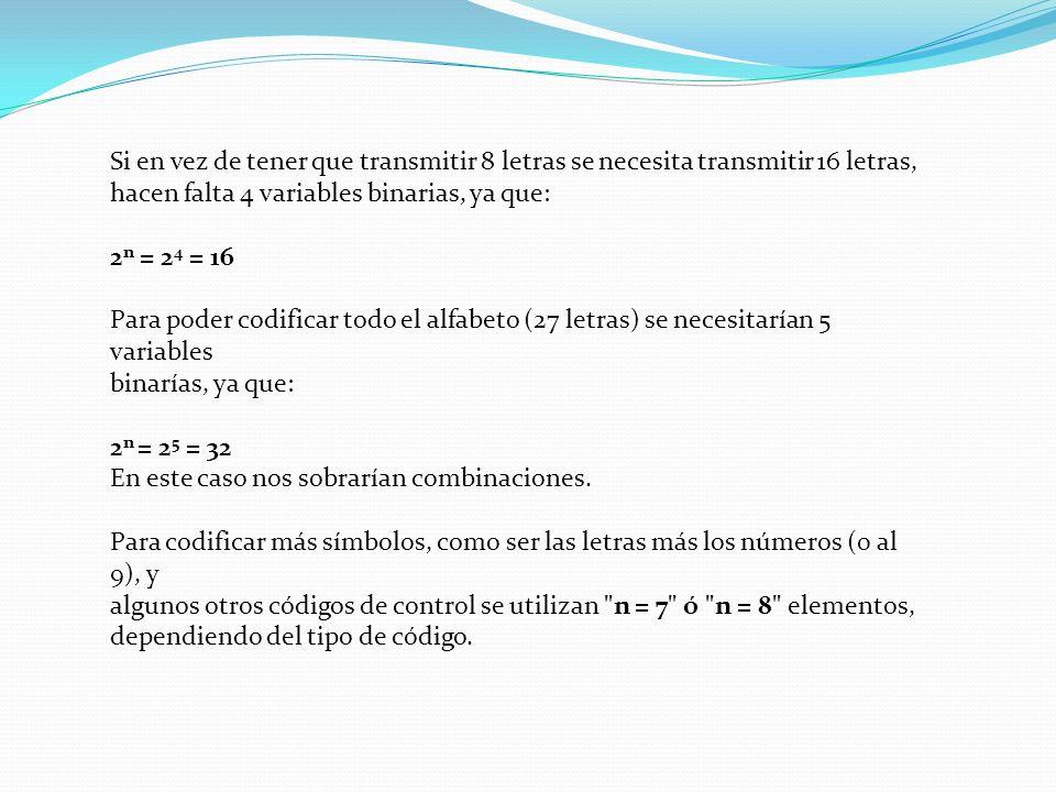 Si en vez de tener que transmitir 8 letras se necesita transmitir 16 letras, hacen falta 4 variables binarias, ya que: 2 n = 2 4 = 16 Para poder codif