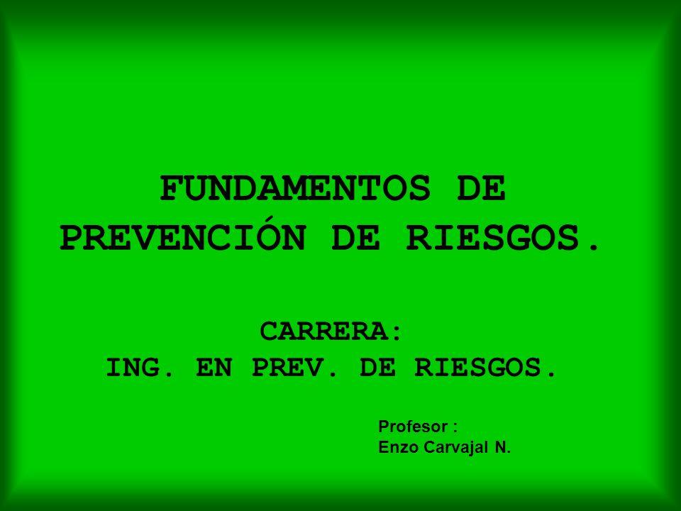 FUNDAMENTOS DE PREVENCIÓN DE RIESGOS. CARRERA: ING. EN PREV. DE RIESGOS. Profesor : Enzo Carvajal N.