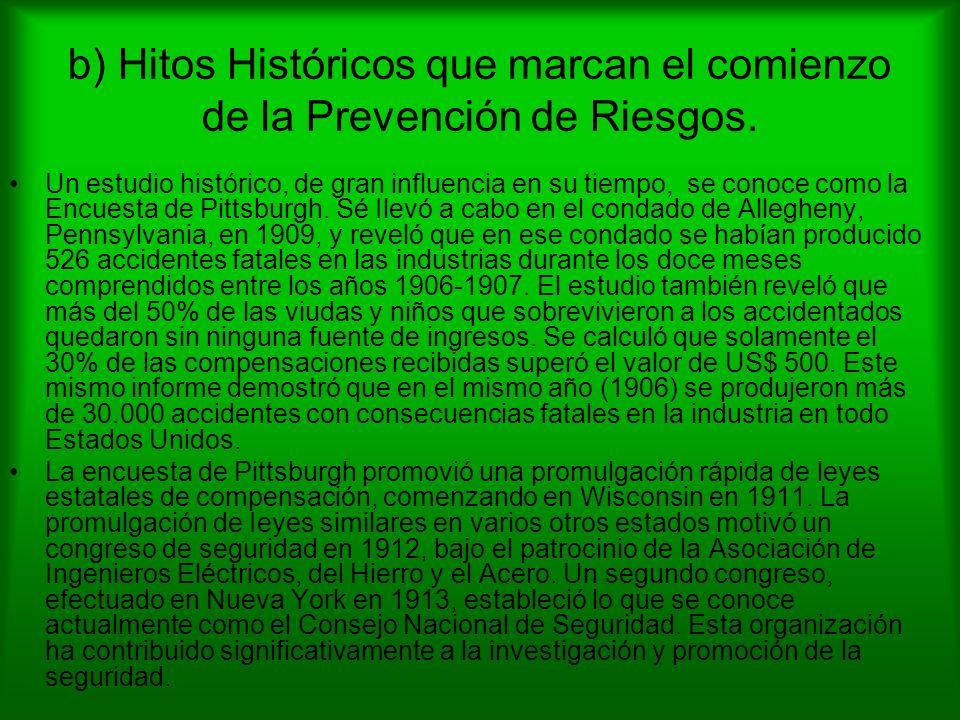 b) Hitos Históricos que marcan el comienzo de la Prevención de Riesgos. Un estudio histórico, de gran influencia en su tiempo, se conoce como la Encue