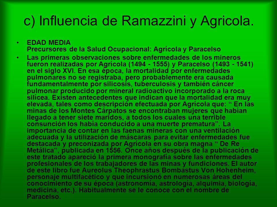 c) Influencia de Ramazzini y Agricola. EDAD MEDIA Precursores de la Salud Ocupacional: Agrícola y Paracelso Las primeras observaciones sobre enfermeda