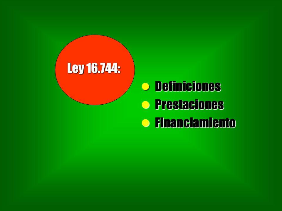 Ley 16.744: Definiciones Definiciones Prestaciones Prestaciones Financiamiento Financiamiento