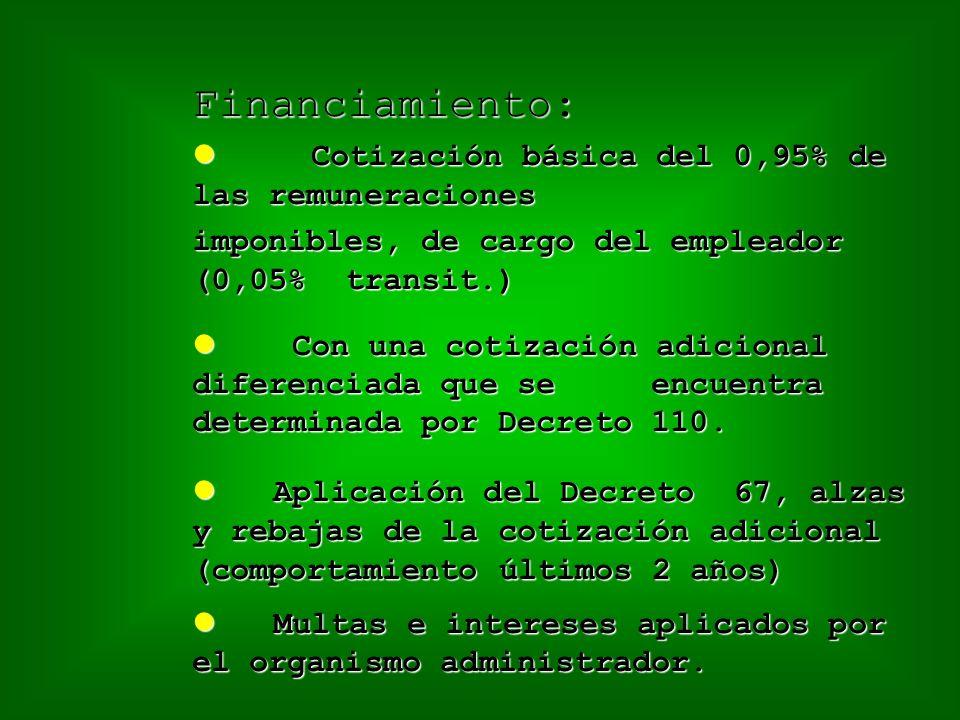 Financiamiento: Cotización básica del 0,95% de las remuneraciones Cotización básica del 0,95% de las remuneraciones imponibles, de cargo del empleador (0,05% transit.) Con una cotización adicional diferenciada que se encuentra determinada por Decreto 110.