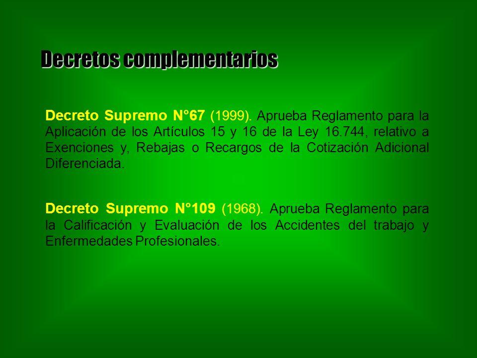 Decretos complementarios Decreto Supremo N°67 (1999). Aprueba Reglamento para la Aplicación de los Artículos 15 y 16 de la Ley 16.744, relativo a Exen