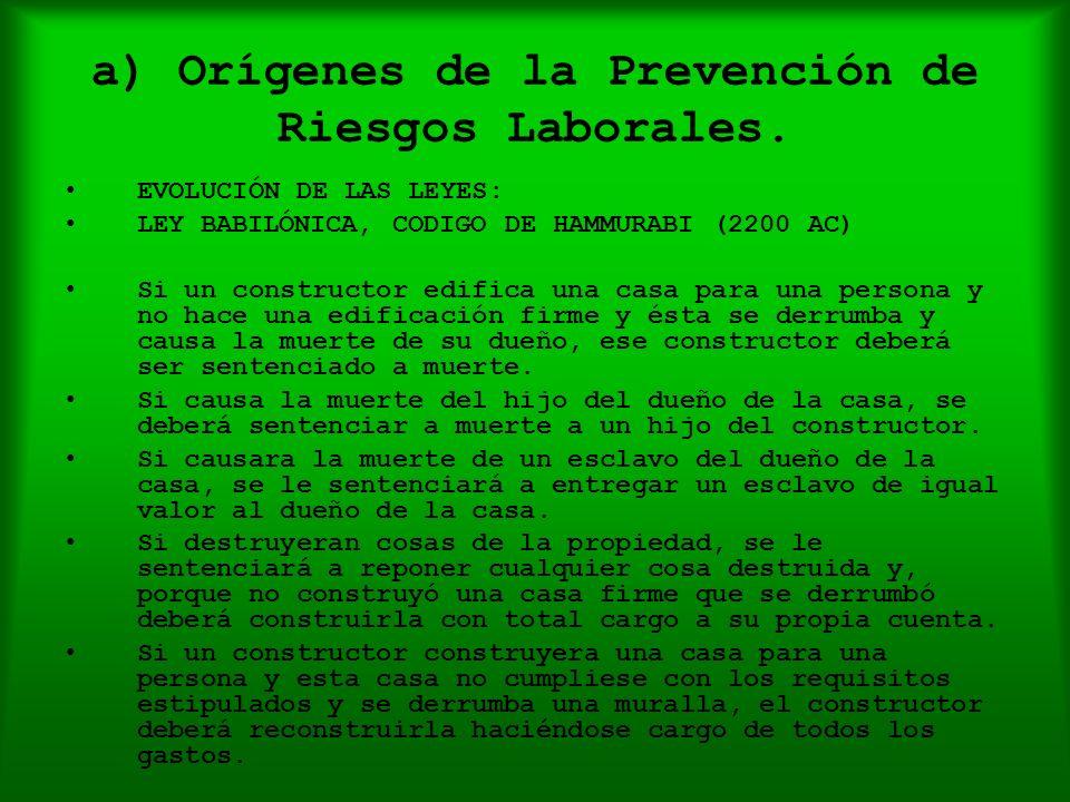 a) Orígenes de la Prevención de Riesgos Laborales. EVOLUCIÓN DE LAS LEYES: LEY BABILÓNICA, CODIGO DE HAMMURABI (2200 AC) Si un constructor edifica una