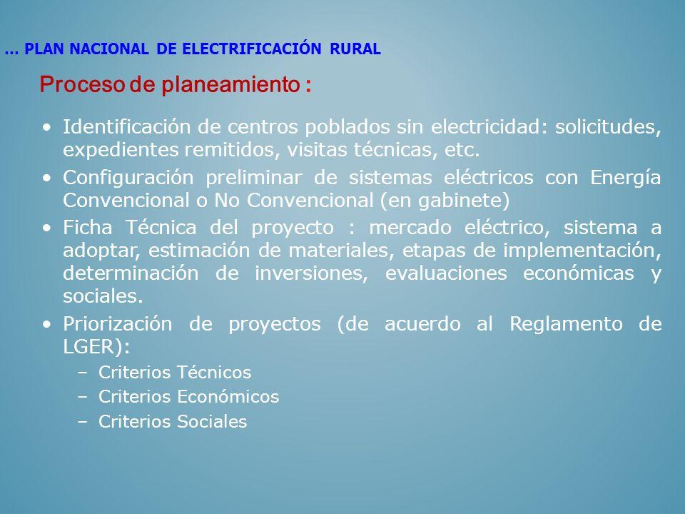 Identificación de centros poblados sin electricidad: solicitudes, expedientes remitidos, visitas técnicas, etc. Configuración preliminar de sistemas e