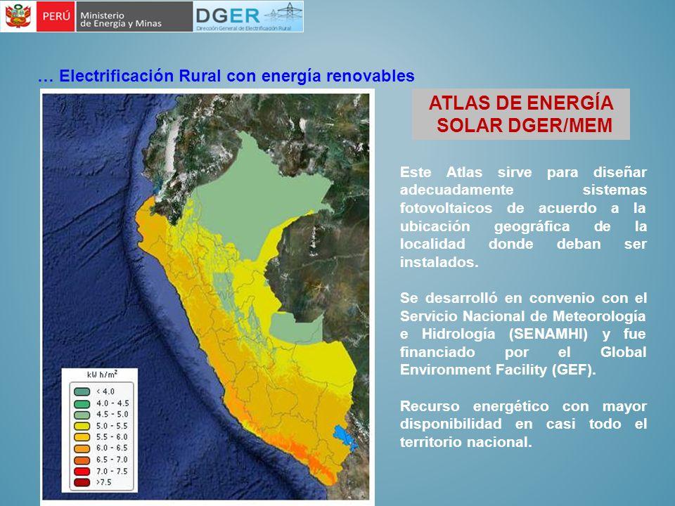 … Electrificación Rural con energía renovables ATLAS DE ENERGÍA SOLAR DGER/MEM Este Atlas sirve para diseñar adecuadamente sistemas fotovoltaicos de a