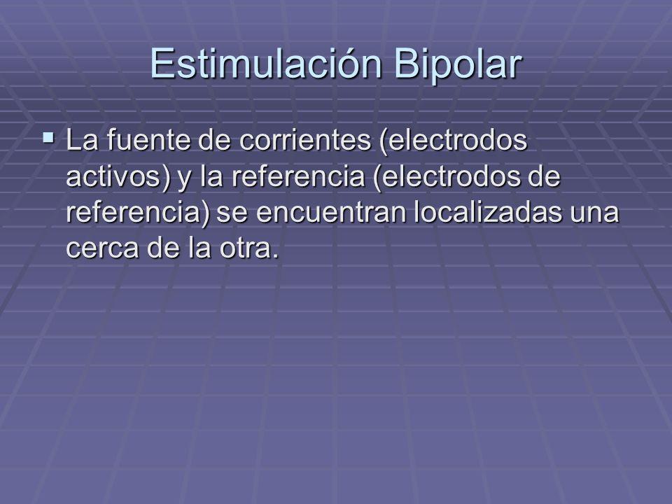 Estimulación monopolar La referencia es un contacto grande que actúa como electrodo indiferente para todas las fuentes de corriente, representadas por