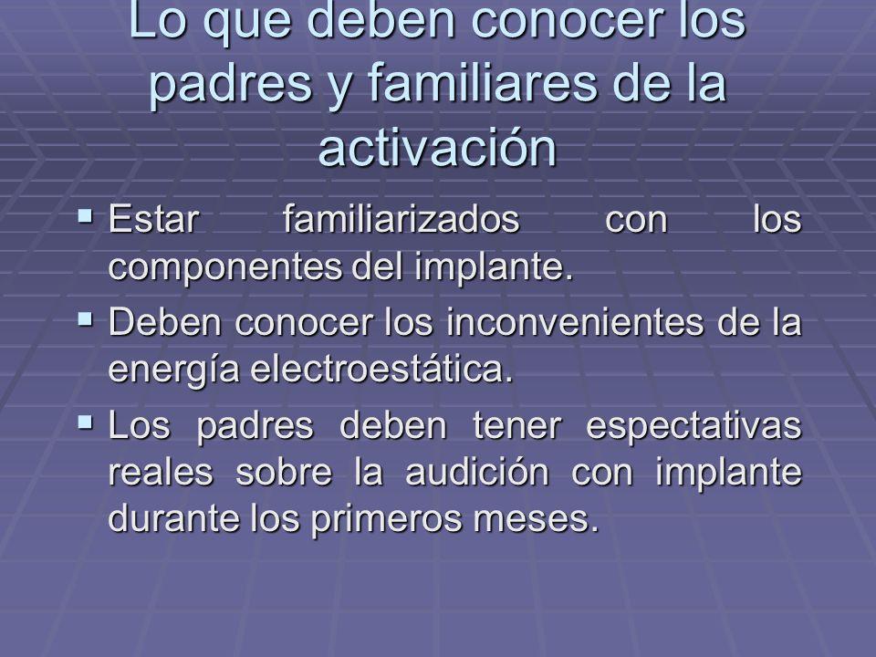 Procedimiento El audiólogo estimula primeramente con pulsos eléctricos y la terapeuta observa las respuestas del niño. El audiólogo estimula primerame