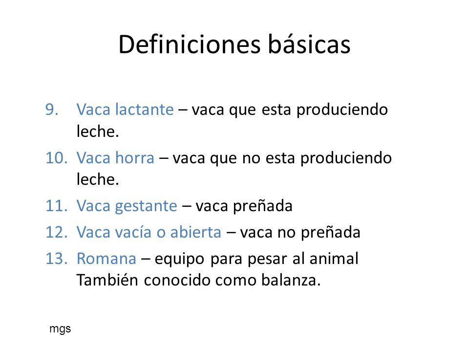 Definiciones básicas 9.Vaca lactante – vaca que esta produciendo leche. 10.Vaca horra – vaca que no esta produciendo leche. 11.Vaca gestante – vaca pr
