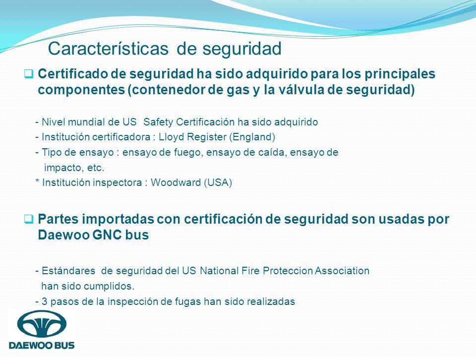 Certificado de seguridad ha sido adquirido para los principales componentes (contenedor de gas y la válvula de seguridad) - Nivel mundial de US Safety