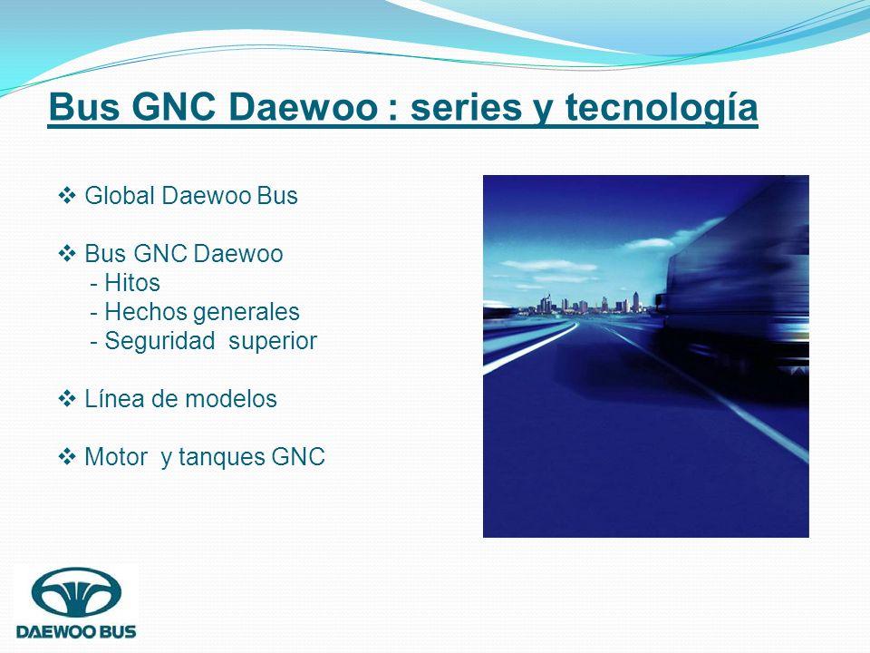 Bus GNC Daewoo : series y tecnología Global Daewoo Bus Bus GNC Daewoo - Hitos - Hechos generales - Seguridad superior Línea de modelos Motor y tanques
