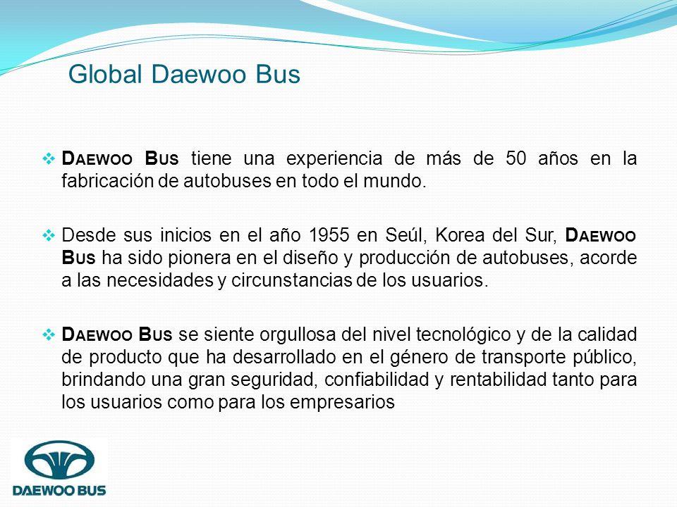 D AEWOO B US tiene una experiencia de más de 50 años en la fabricación de autobuses en todo el mundo. Desde sus inicios en el año 1955 en Seúl, Korea