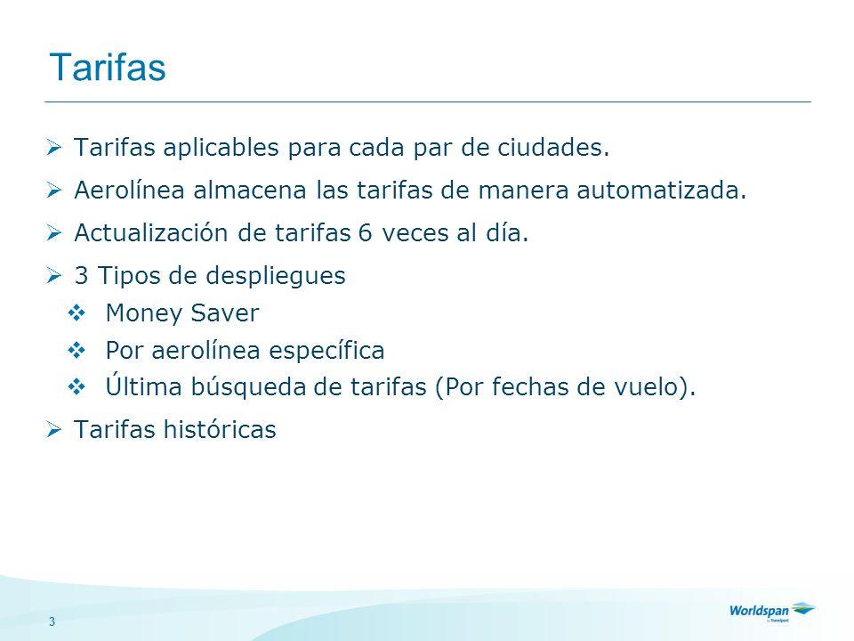 3 Tarifas Tarifas aplicables para cada par de ciudades. Aerolínea almacena las tarifas de manera automatizada. Actualización de tarifas 6 veces al día