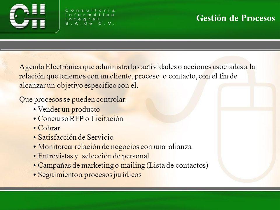 Gestión de Procesos Agenda Electrónica que administra las actividades o acciones asociadas a la relación que tenemos con un cliente, proceso o contacto, con el fin de alcanzar un objetivo específico con el.
