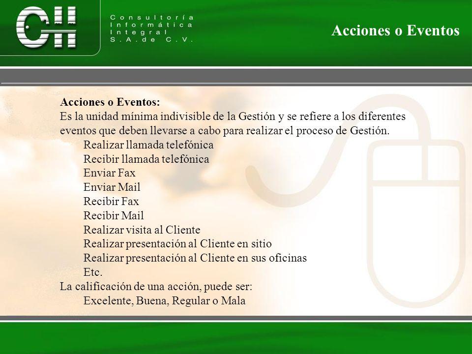 Acciones o Eventos: Es la unidad mínima indivisible de la Gestión y se refiere a los diferentes eventos que deben llevarse a cabo para realizar el proceso de Gestión.