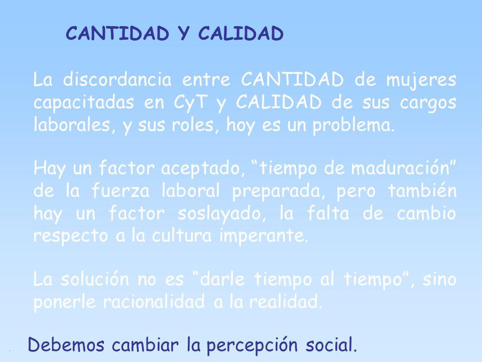CANTIDAD Y CALIDAD La discordancia entre CANTIDAD de mujeres capacitadas en CyT y CALIDAD de sus cargos laborales, y sus roles, hoy es un problema. Ha
