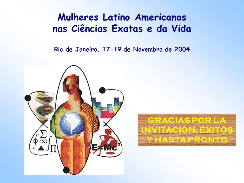 GRACIAS POR LA INVITACIÓN, ÉXITOS Y HASTA PRONTO Mulheres Latino Americanas nas Ciências Exatas e da Vida Rio de Janeiro, 17-19 de Novembro de 2004