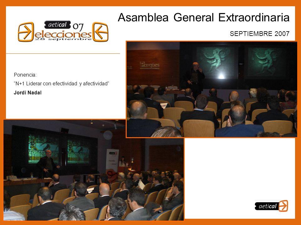7 Asamblea General Extraordinaria SEPTIEMBRE 2007 Ponencia: N+1 Liderar con efectividad y afectividad Jordi Nadal