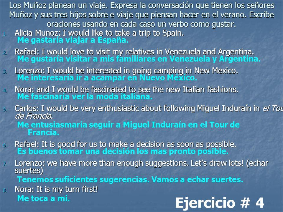 Los Muñoz planean un viaje. Expresa la conversación que tienen los señores Muñoz y sus tres hijos sobre e viaje que piensan hacer en el verano. Escrib