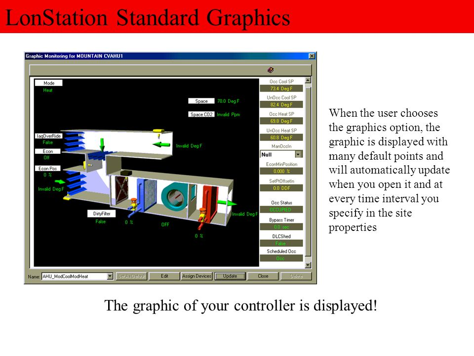 All of the standard graphics with LonStation have the most common points to be monitored already added and placed in the graphic and require absolutely no setup time.