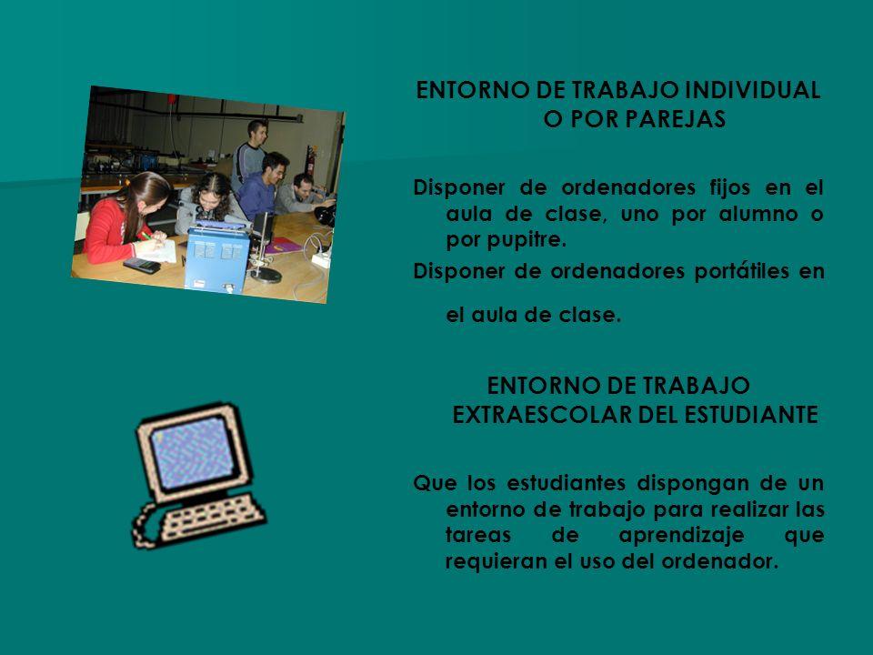 ENTORNO DE TRABAJO INDIVIDUAL O POR PAREJAS Disponer de ordenadores fijos en el aula de clase, uno por alumno o por pupitre. Disponer de ordenadores p